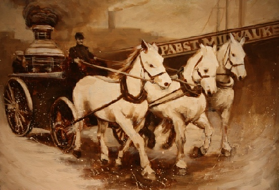 1850 Fire Wagon 18 X 24  Oil